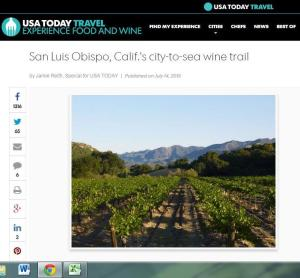 USA today SLO City to Sea Wine Trail